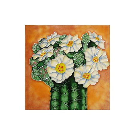 Continental Art Center Cactus with White Flowers Tile Wall Decor