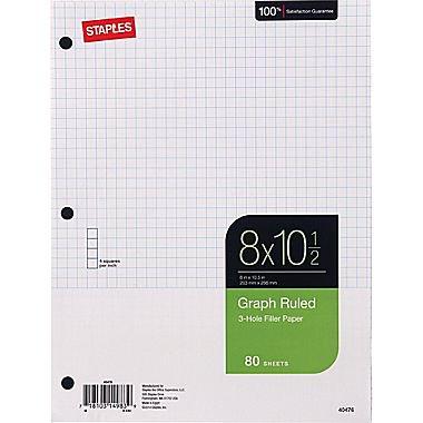staples graph ruled filler paper 8 x 10 1 2 walmart com