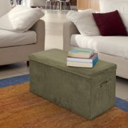 Seat Pad Folding Storage Bench. Micro Suede Cover-Sage