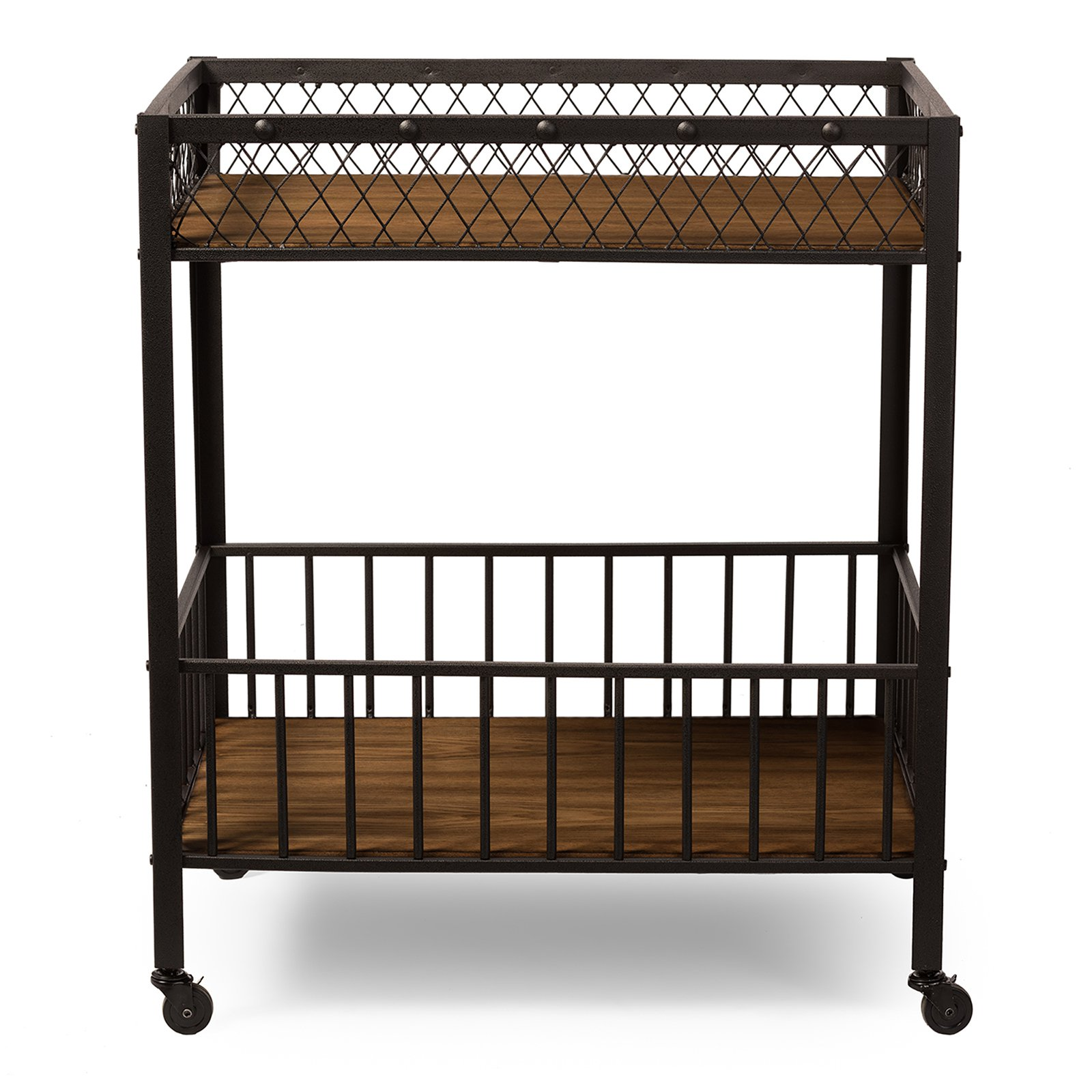 Baxton Studio Bentley Antiqued Vintage Industrial Metal and Wood Wheeled Kitchen Serving Cart by Wholesale Interiors