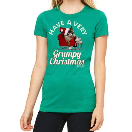 Tard The Grumpy Cat Halloween (Grumpy Cat Have Grumpy Christmas Women's Kelly Green T-shirt NEW Sizes)