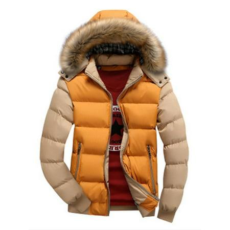Men Winter Warm Zipper Hoodies Coat Jacket Splice Color Winter Outwear Long Sleeve Big Fur Collar Hoody Hooded Parka Jacket Outwear Plus Size (Parka Coats For Men With Fur Collar)