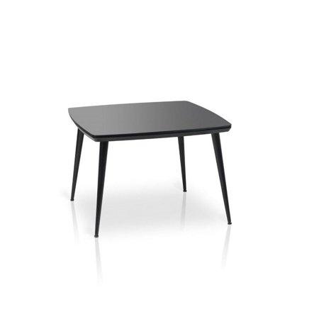 VVR Homes ESSIE Square Glass Top Dining Table Black Black Finish (Black Top Finish)