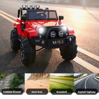 UBesGoo 12V Kids Battery Powered Electric Rugged 4-Wheeler Ride-On Car with LED Headlights, Music, Remote Control - Red