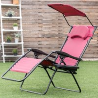 Folding Recliner Lounge Chair w/ Shade Canopy Cup Holder