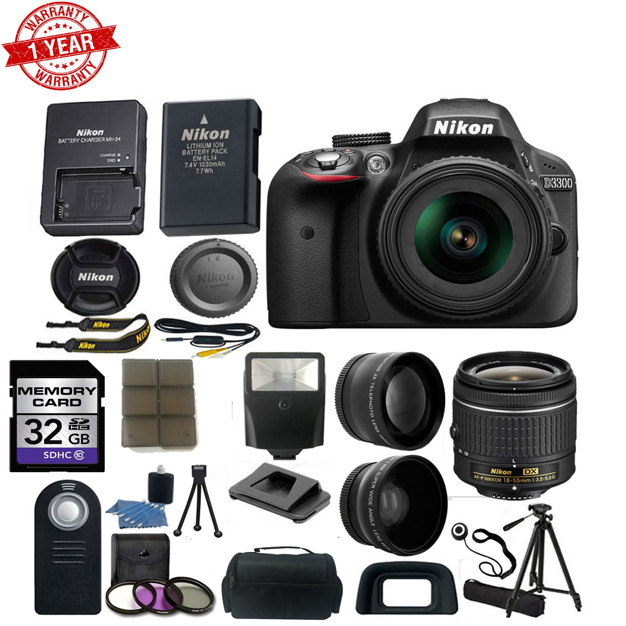 Nikon D3300 Digital Slr Camera W 18 55mm Af P Dx Lens Wide Angle Amp Telephoto Lens Tripod Camera Case 32gb Card Wireless Remote Deluxe Bundle Kit Walmart Com Walmart Com