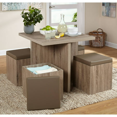 5 Piece Baxter Dining Set With Storage Ottoman Multiple