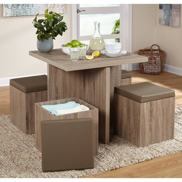 TMS 5-Piece Baxter Dining Set with Storage Ottoman, Multiple Colors