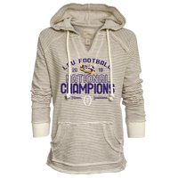 LSU Tigers Blue 84 Women's College Football Playoff 2019 National Champions French Terry Pullover Hoodie - Oatmeal