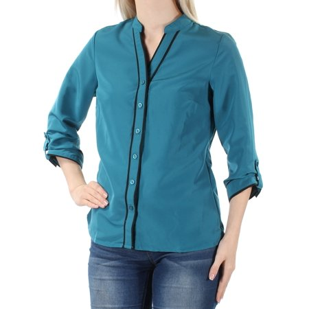 NY COLLECTION Womens Blue Cuffed V Neck Button Up Top Petites  Size: (Shank La Petite Buttons)