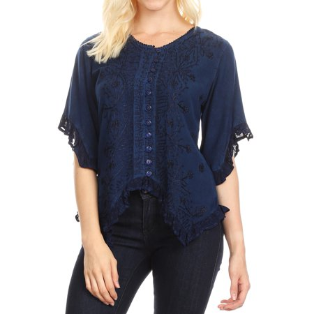 Sakkas Adela Womens 3/4 Sleeve V neck Lace and Embroidery Top Blouse with Ties - Blue - XXL ()