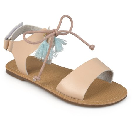 Brinley Kids Little Girl Faux Leather Tasseled Flat - Leather Girls Sandals