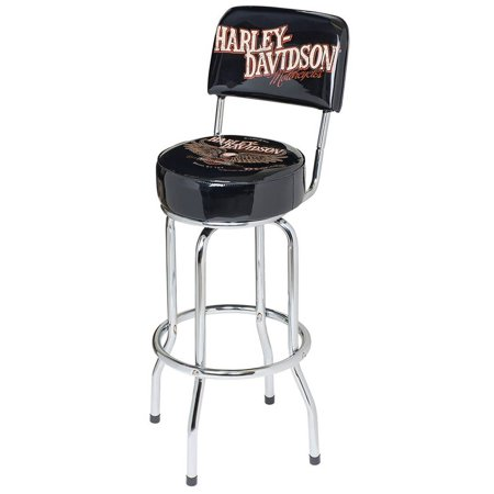 Enjoyable Harley Davidson Bar Shield Eagle Bar Stool W Backrest Black Hdl 12211 Harley Davidson Squirreltailoven Fun Painted Chair Ideas Images Squirreltailovenorg