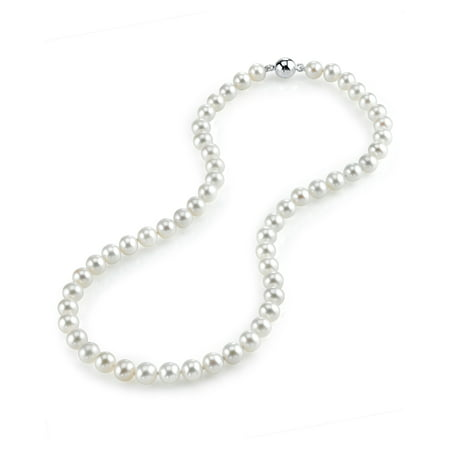 - 8-9mm AAA Quality Round White Freshwater Cultured Pearl Necklace for Women with Magnetic Clasp in 17 Princess Length
