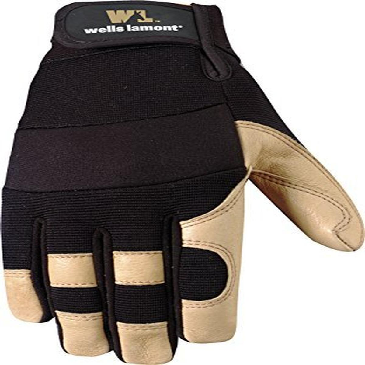 Wells Lamont Ultra Comfort Work Gloves, Grain Leather, Abrasive Resistant Palm, X-Large, Palomino/Black (3214XL)