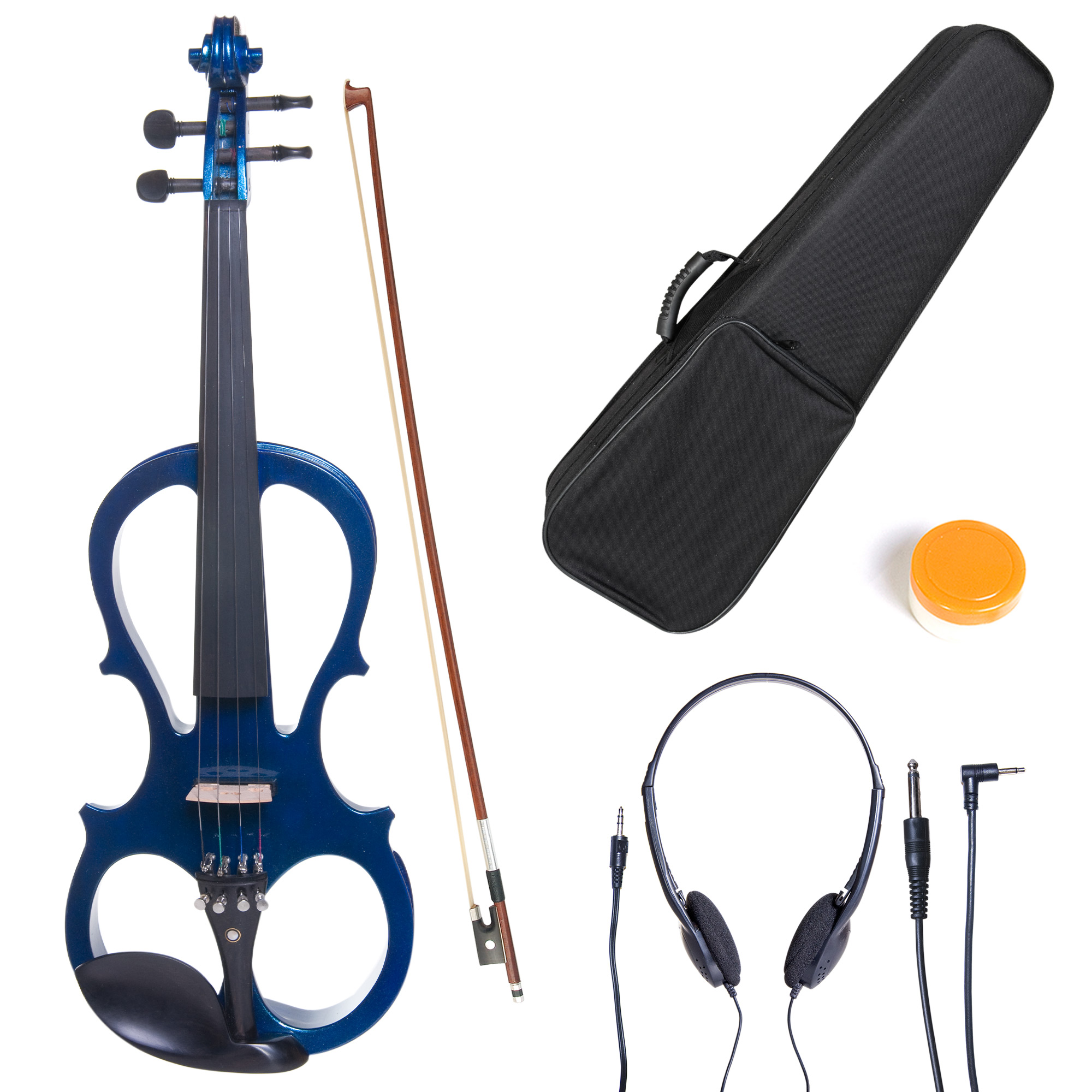 Cecilio Size 3/4 CEVN-1BL Solidwood Metallic Blue Electric/Silent Violin with Ebony Fittings