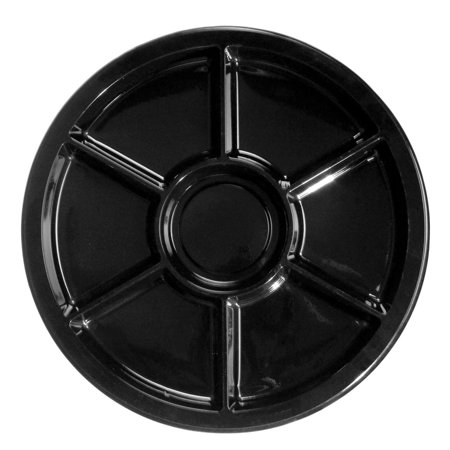 Northwest 7-Compartment Black Plastic Serving Platter - Plastic Party Platters