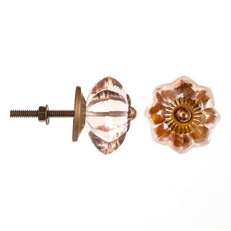 Fancy Double Leaf Knob - Decorative Knob - Glass - Fancy - Pink Flower