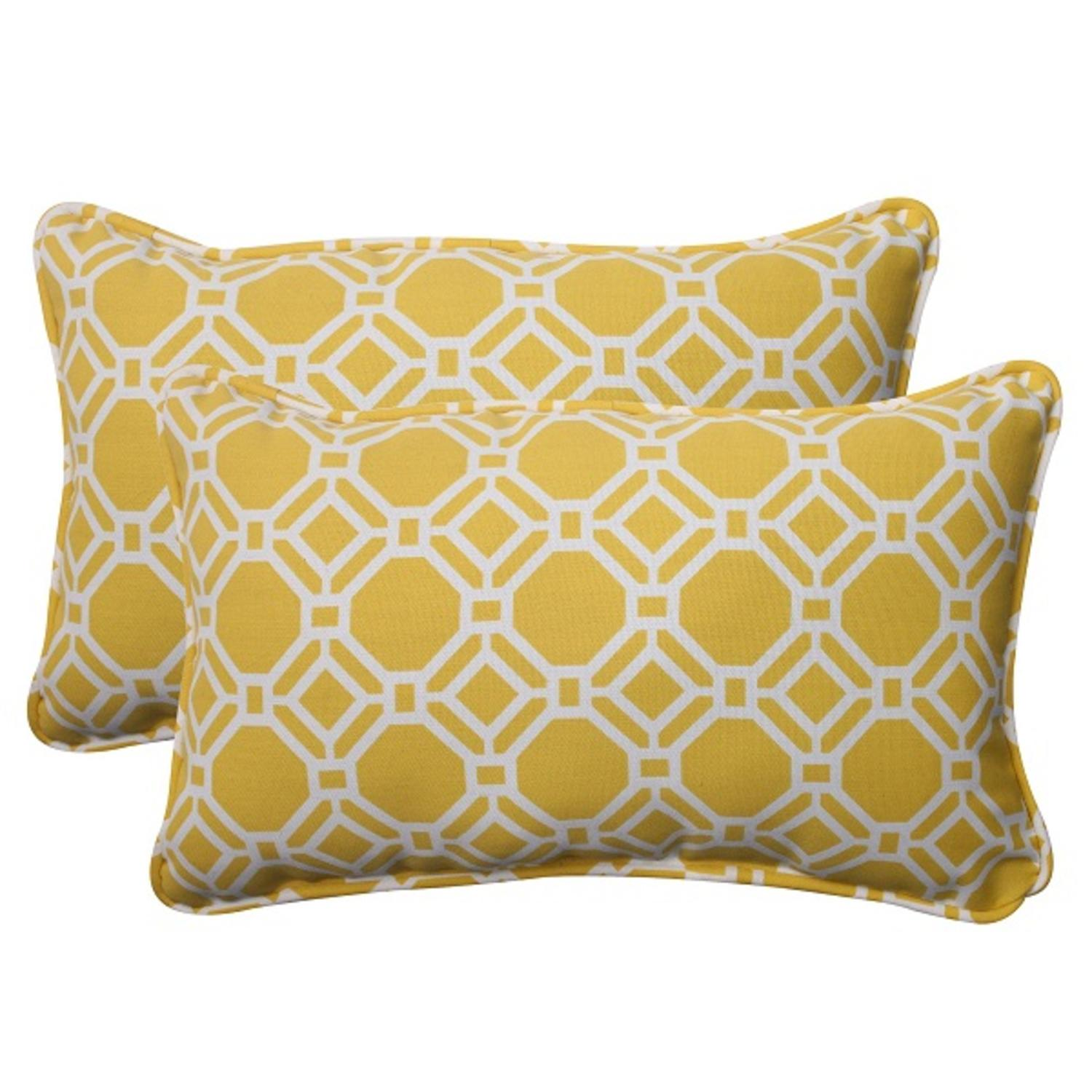 Set of 2 Sunny Yellow and White Geometric Outdoor Patio Throw Pillows 18.5""