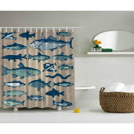 Nautical Coastal Theme Sea Tropical Fish Aqua Art Prints Beach Shower Curtain