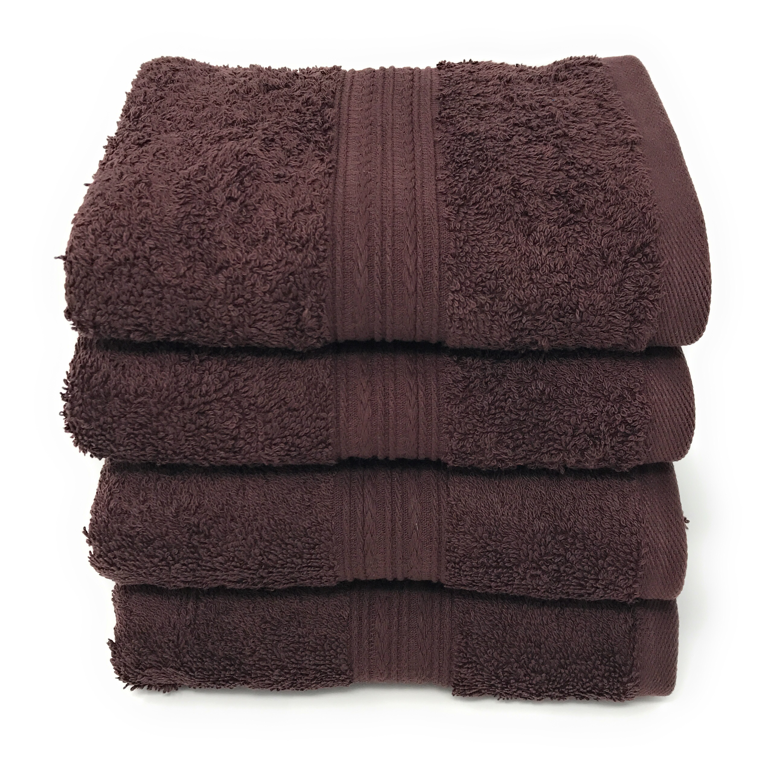 Goza Towels Cotton Hand Towels, (4 Pack, 16 x 28 inches) Dark Brown