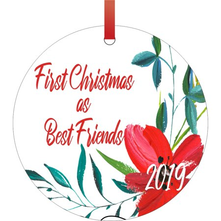 First Christmas as Best Friends 2019 Double Sided Round Shaped Flat Aluminum Glossy Christmas Ornament Tree Decoration - Unique Modern Novelty Tree Décor
