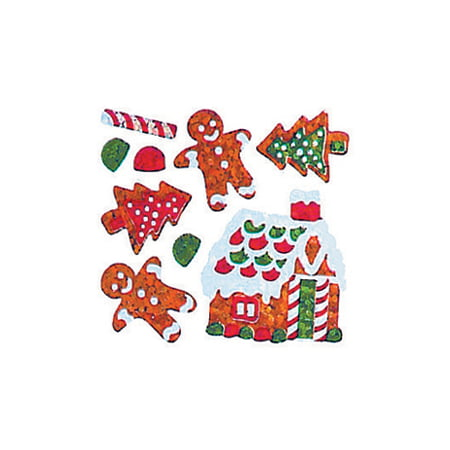 Bulk Roll Prismatic Stickers, Mini Gingerbread House / Cookies (100 Repeats)