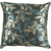 "18"" Iron Gray and Cornflower Blue Decorative Throw Pillow"