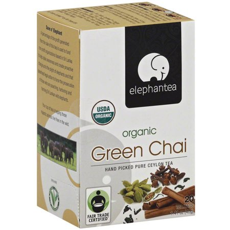 ELEPHANTEA Chai Thé vert bio, 1,41 oz, (pack de 6)