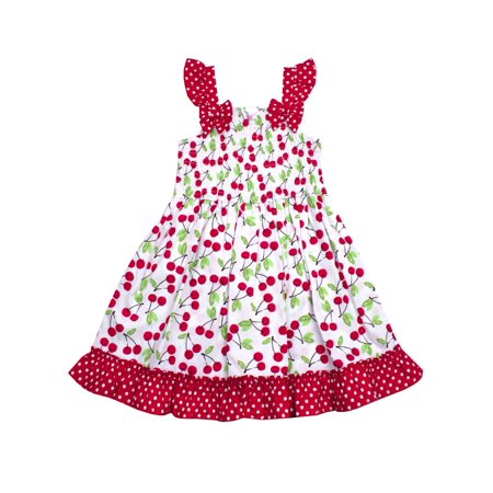Sleeveless and Smocked, Ruffle Hem Dress (Little (Childrens Clothing Smocked Dresses)
