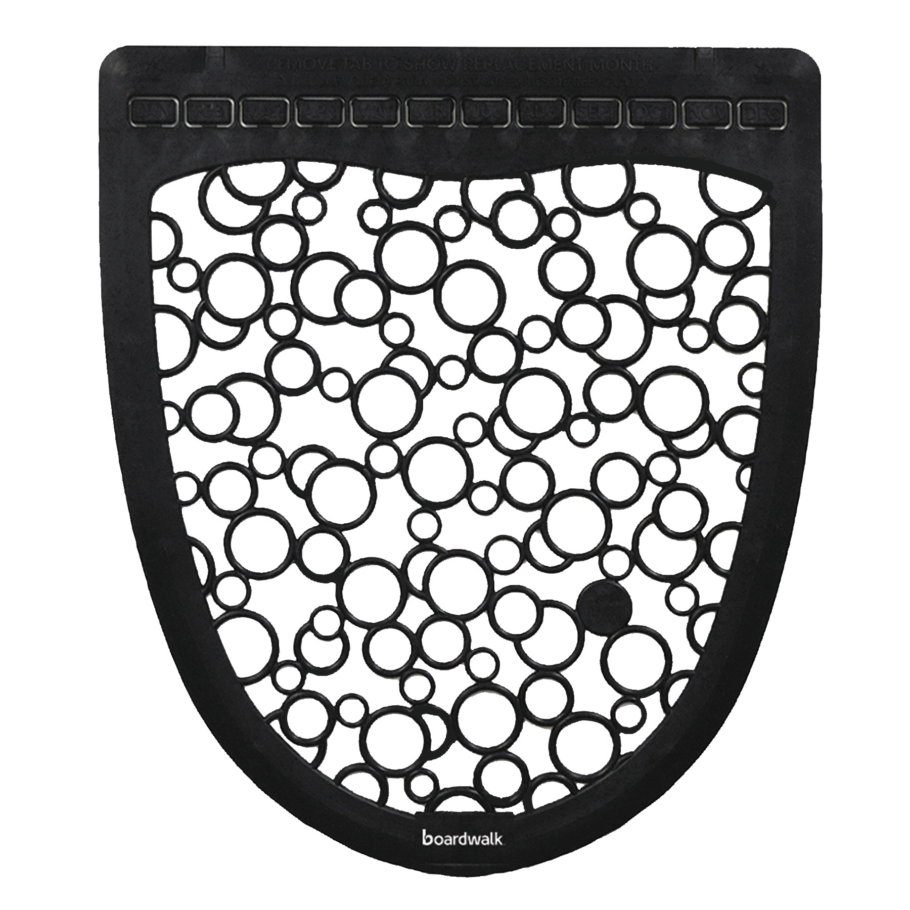 Boardwalk 2.0 Rubber Urinal Mats, Black/White, 6 count -BWKUMBW