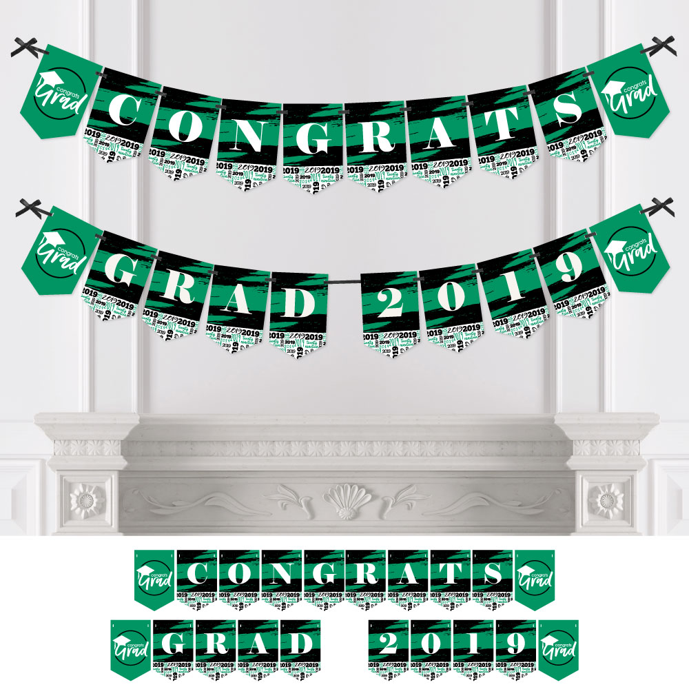 Green Grad - Best is Yet to Come - Green Graduation Bunting Banner - Party Decorations - CONGRATS GRAD 2019