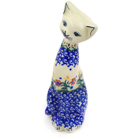 Polish Pottery 7¾-inch Cat Figurine (Spring Flowers Theme) Hand Painted in Boleslawiec, Poland + Certificate of Authenticity