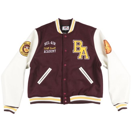 e1a40413ef12 HEADGEAR - Headgear Will Smith Fresh Prince Bel-Air Varsity Jacket Burgundy  - Walmart.com