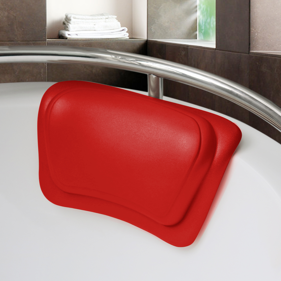 "12""x7.1"" Luxury Bathtub Tub Spa Bath Pillow with Suction Cups Red"