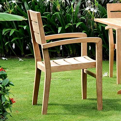 HiTeak Furniture Venice Stacking Dining Arm Chair (Set of 4)