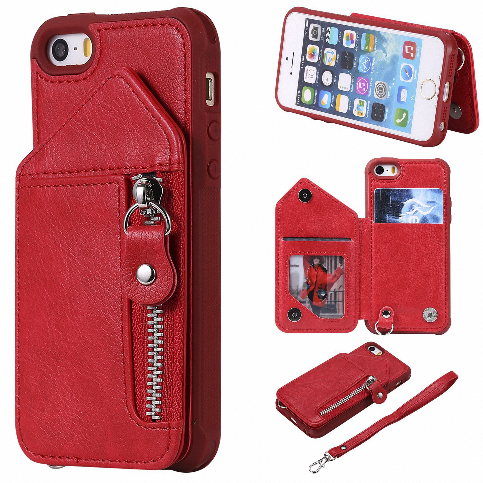 new styles c5807 054b6 iPhone SE Case, iPhone 5 5S Case, Dteck PU Leather Zipper Wallet Back  Kickstand Case Protective Cover With Card Slots, Blue