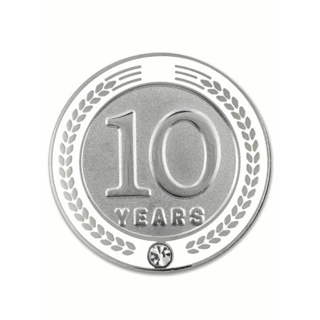 Employee Service Awards (PinMart's 10 Years of Service Award Employee Recognition Gift Lapel Pin - White )
