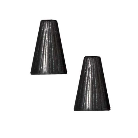 Black Finish Lead-Free Pewter Etched Tall Cone Strand Reducer Beads 12.5mm (2)