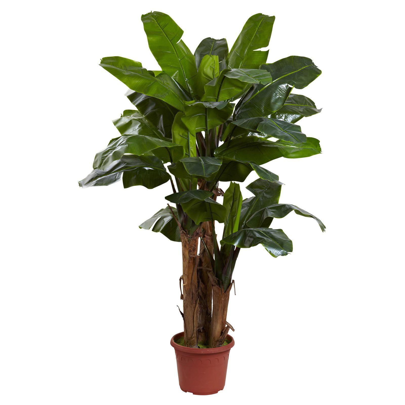 Nearly Natural 7 ft. Triple Stalk UV Resistant Banana Silk Tree