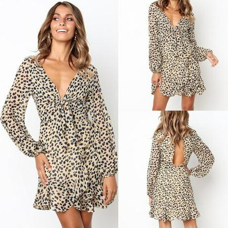 ea7d07f3d2b8 UKAP - European style Women Deep V Neck Long Sleeve Backless Dress Bandage  Leopard Print Party Mini Dress - Walmart.com