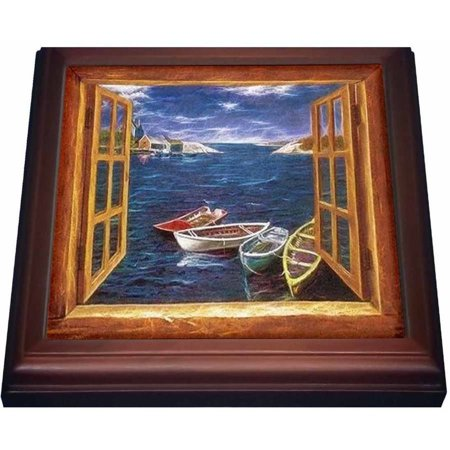 3dRose Boats through window sill frame with houses , Trivet with Ceramic Tile, 8 by (Trivet Framed Tile)