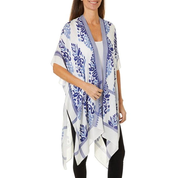 Cejon Accessories Womens Damask Print Kimono One Size White/navy blue