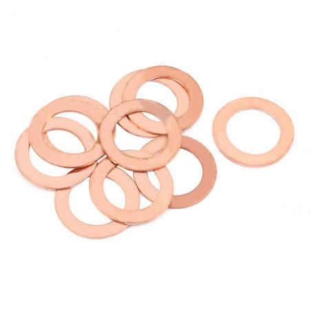10pcs 22mm x 14mm x 1mm Flat Ring Copper Crush Washer Sealing Gasket Fastener