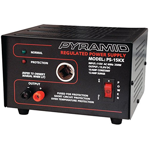 """PYRAMID PYRPS15KXB 10 Amp 13.8-Volt Power Supply with Cigarette Lighter Adapter"""