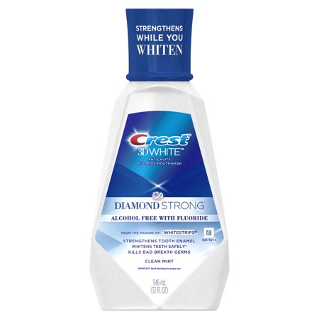 - Crest 3D White Diamond Strong Alcohol Free Fluoride Mouthwash, Clean Mint, 946 mL