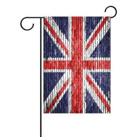 POPCreation Vintage Union Jack British Garden Flag Brick Wall Outdoor Flag Home Party 28x40 inches