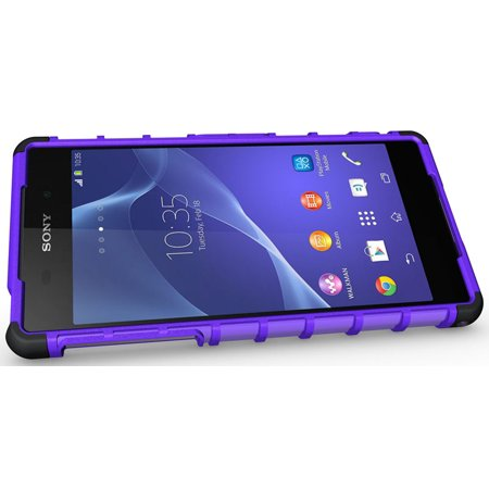 NAKEDCELLPHONE PURPLE GRENADE GRIP RUGGED TPU SKIN HARD CASE COVER STAND FOR SONY XPERIA Z2 PHONE / D6503 / L50W - image 5 de 7
