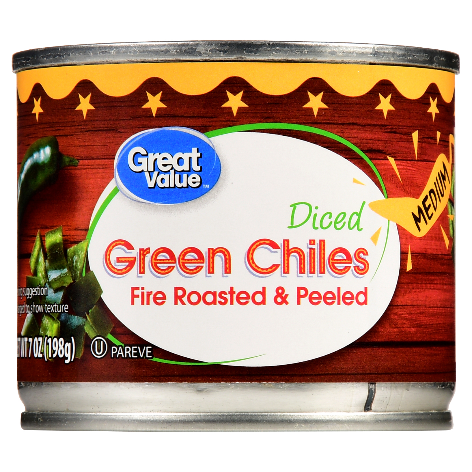 Great Value Chopped Diced Green Chiles Fire Roasted And Peeled, Medium, 7 Oz