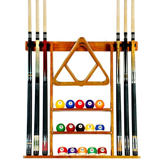 Pool cue rack only 6 billiard stick ball set wall rack for Cue rack plans